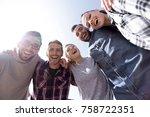 bottom view.successful creative ...   Shutterstock . vector #758722351