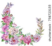 flowers corner with watercolor... | Shutterstock . vector #758723155