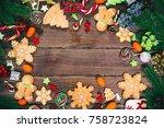 christmas gingerbread cookies... | Shutterstock . vector #758723824