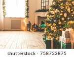 christmas living room with a... | Shutterstock . vector #758723875