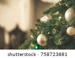 christmas tree in christmas... | Shutterstock . vector #758723881