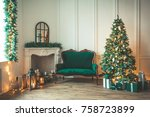 christmas living room with a... | Shutterstock . vector #758723899