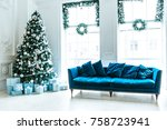 christmas living room with a... | Shutterstock . vector #758723941