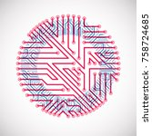 vector circuit board circle ... | Shutterstock .eps vector #758724685