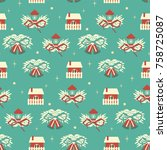 christmas seamless pattern with ... | Shutterstock .eps vector #758725087
