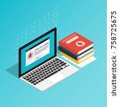 isometric computer bug error... | Shutterstock .eps vector #758725675