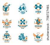 set of vector gym theme emblems ... | Shutterstock .eps vector #758727481