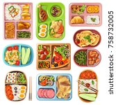 set of boxed lunches in plastic ... | Shutterstock .eps vector #758732005