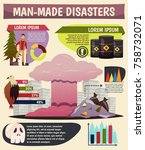 man made eco disasters...   Shutterstock .eps vector #758732071