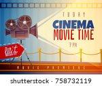 cinema horizontal poster on...   Shutterstock .eps vector #758732119