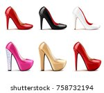 women shoes realistic set in... | Shutterstock .eps vector #758732194