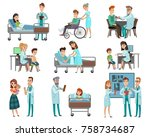 set of characters doctors and... | Shutterstock .eps vector #758734687