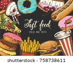 background with fast food hand... | Shutterstock .eps vector #758738611