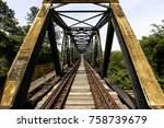 old railway bridge  with iron... | Shutterstock . vector #758739679