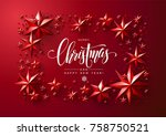christmas postcard with... | Shutterstock .eps vector #758750521