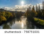 danube canal in vienna in... | Shutterstock . vector #758751031