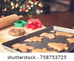 making christmas gingerbread... | Shutterstock . vector #758753725