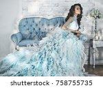 fashionable portrait of... | Shutterstock . vector #758755735