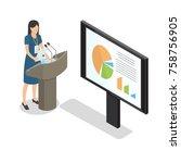 report businesswoman at podium... | Shutterstock . vector #758756905
