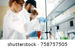 young students of chemistry... | Shutterstock . vector #758757505