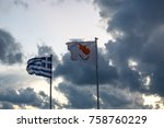Cyprus And Greek Flags On The...