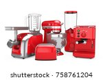 kitchen appliances set. red... | Shutterstock . vector #758761204