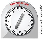 """Glossy illustration of an analog timer with the words """"Time for Action"""" at the top - stock photo"""