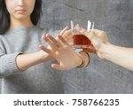 woman refused alcohol drink | Shutterstock . vector #758766235