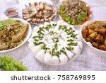 hoi cake  fine rice vermicelli  ... | Shutterstock . vector #758769895