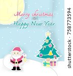 the pastel christmas and happy...   Shutterstock .eps vector #758773594