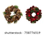 christmas wreath of cones and...   Shutterstock . vector #758776519
