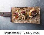 bruschetta with crab salad... | Shutterstock . vector #758776921