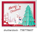 merry christmas card concept... | Shutterstock .eps vector #758778607