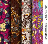 set of tracery colorful... | Shutterstock .eps vector #758783704