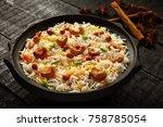 homemade vegan lunch  fried... | Shutterstock . vector #758785054