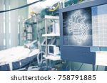heart projection on the patient ... | Shutterstock . vector #758791885