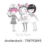 Stock vector cute funny girls 758792845