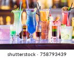 set of cocktails at the bar | Shutterstock . vector #758793439