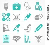 medical icons on white ... | Shutterstock .eps vector #758795059