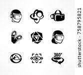 virtual reality icon set in... | Shutterstock .eps vector #758795821