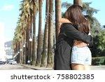 rear view of honeymoon couple | Shutterstock . vector #758802385