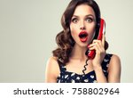 beautiful woman in pin up style ... | Shutterstock . vector #758802964