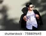 portrait charming handsome...   Shutterstock . vector #758809645