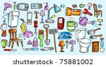 color notebook doodle sketch... | Shutterstock .eps vector #75881002