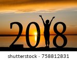 2018 new year silhouette of a... | Shutterstock . vector #758812831
