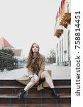 attractive brunette sexy girl... | Shutterstock . vector #758814451