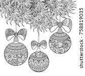 monochrome merry christmas... | Shutterstock .eps vector #758819035