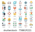 vector set of leisure and... | Shutterstock .eps vector #758819221