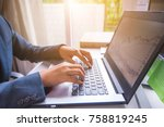 businessman working with laptop ... | Shutterstock . vector #758819245