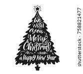 christmas tree silhouette.... | Shutterstock .eps vector #758821477